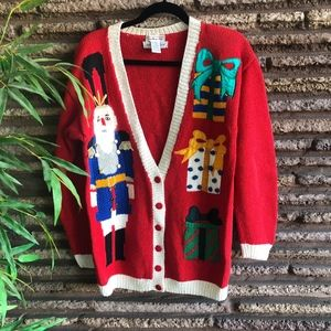 Talbots Vintage Ugly Christmas Cardigan Sweater